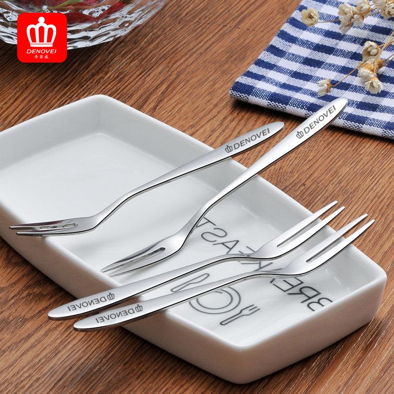 ¥9.9 帝若威不锈钢水果叉勺 咖啡勺子 水果签 西餐牛肉叉子(5把)