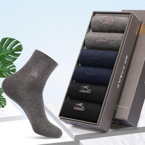 浪莎 男士厚款纯棉中筒袜 6双 阿克苏长绒棉 34.9元包邮