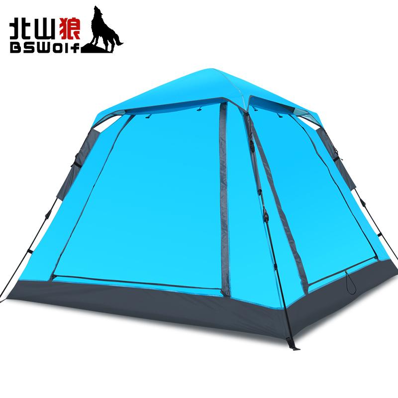 北山狼全自动帐篷户外露营3-4人二室一厅加厚防雨野营2人野外帐篷 198元