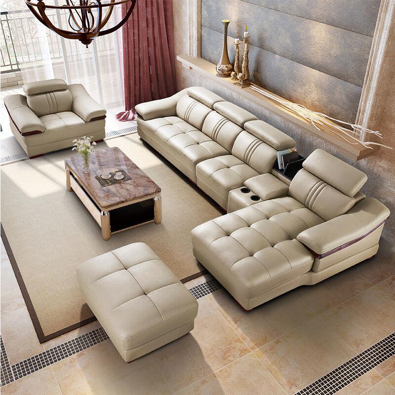 ¥3699 兰瑞蒂沙发 头层牛皮真皮沙发 杏色(杏色 双人位+贵妃位(送皮凳))