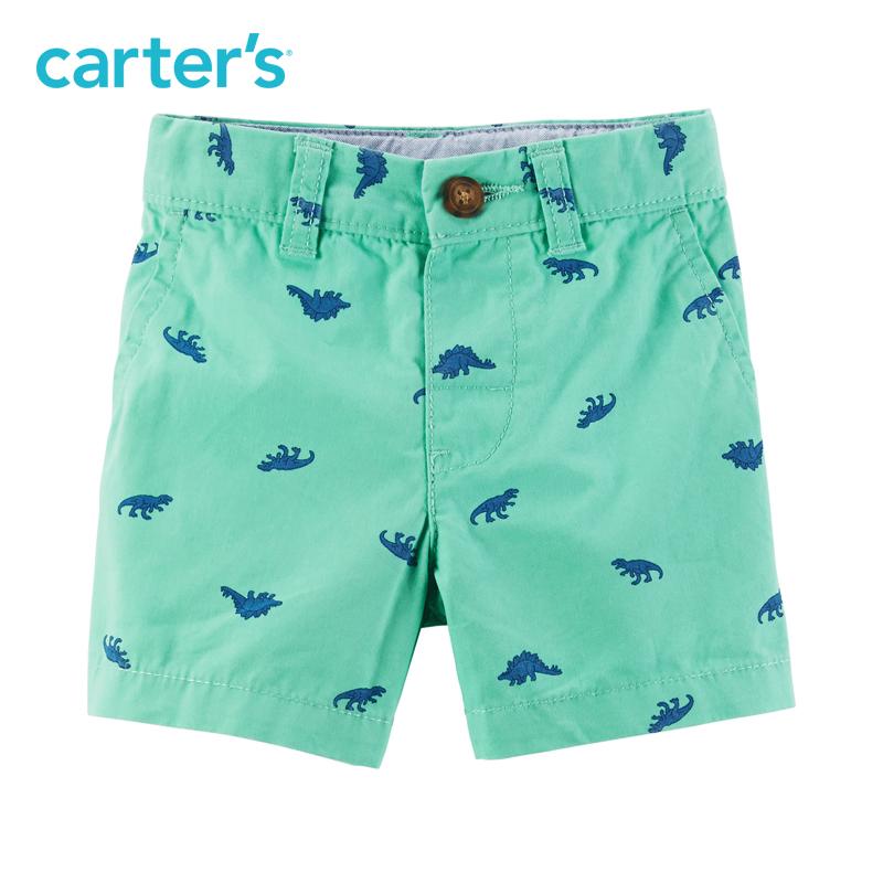 Carter's1条装恐龙全棉短裤休闲纽扣裤腰男宝宝婴儿童装224G337 30元
