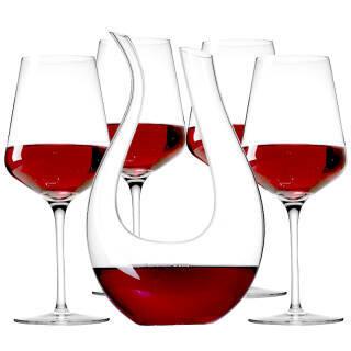 米卡莎(MKSA)欧洲进口红酒高脚杯 葡萄酒杯 红酒具 无铅水晶杯酒具4只装( 590ml*4)赠天鹅醒酒器1500ml 199元