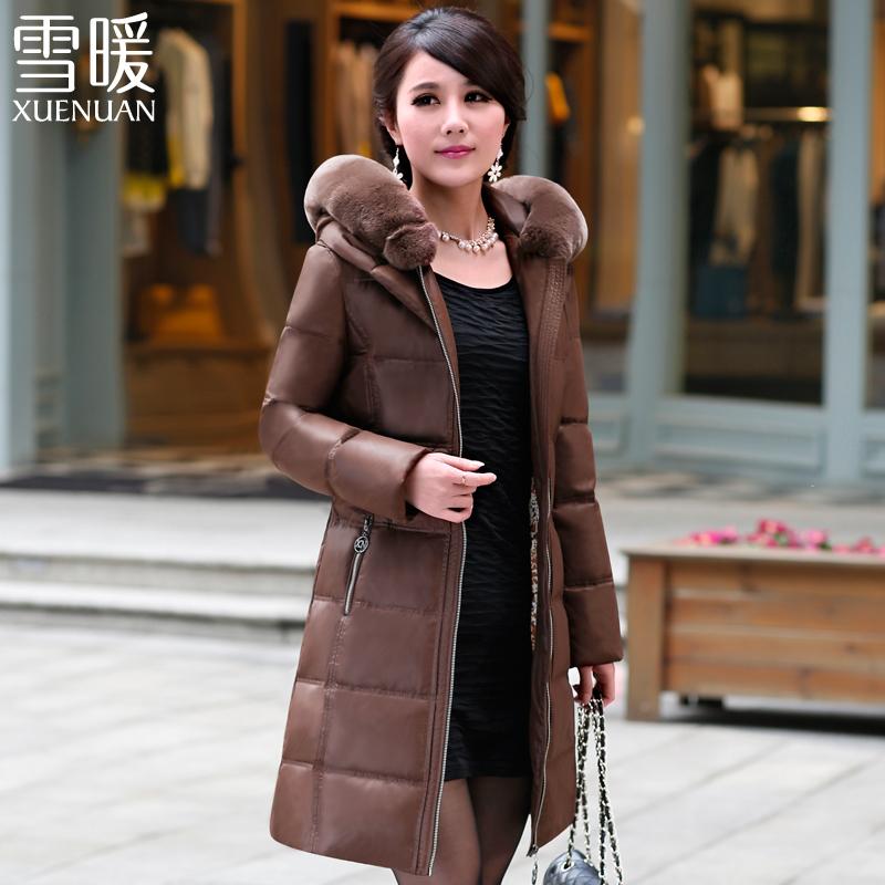 ¥99 雪暖品牌中年女士中老年羽绒服女中长款加厚反季清仓修身妈妈装78