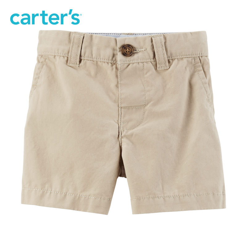 Carter's1条装全棉短裤棕色休闲纽扣裤腰男宝宝婴儿童装224G334 30元