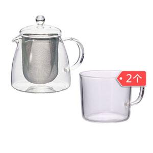 HARIO 耐热玻璃茶壶 700ml+ 耐热玻璃带把茶杯 240ml*2个 219.99元包邮